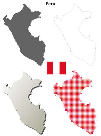 mapa del peru: Per� en blanco vector mapa detallado conjunto contorno Vectores