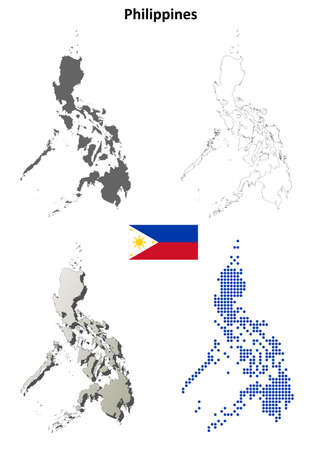 philippines map: Philippines blank detailed vector outline map set Illustration