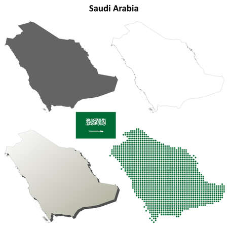 map: Saudi Arabia blank detailed vector outline map set