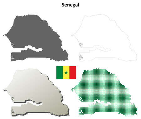coastline: Senegal blank detailed vector outline map set Illustration