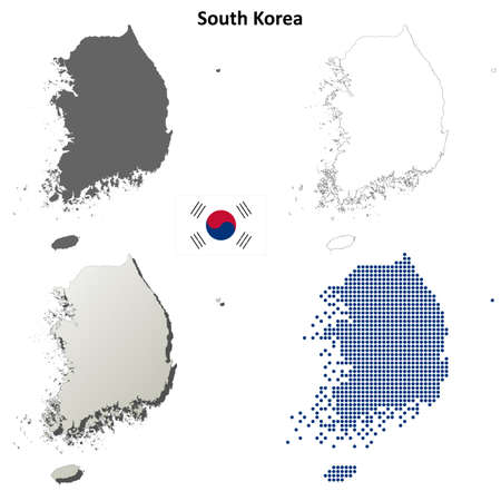South Korea blank detailed outline map set