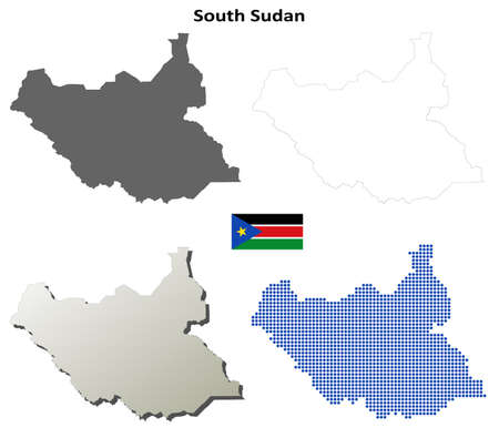 south sudan: South Sudan blank detailed vector outline map set Illustration