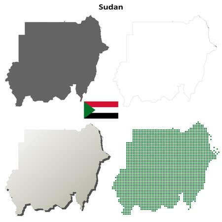 coastline: Sudan blank detailed vector outline map set Illustration