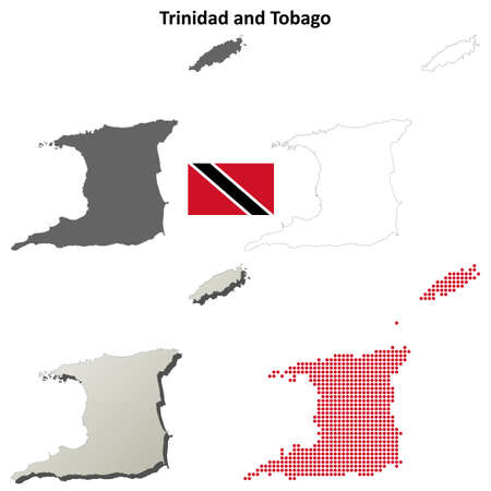 trinidad and tobago: Trinidad and Tobago blank detailed outline map set