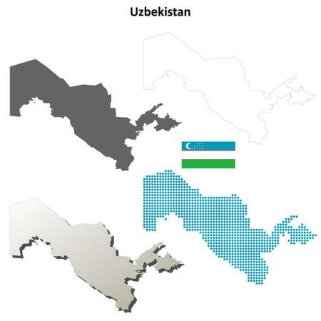 oezbekistan: Uzbekistan blank detailed vector outline map set Stock Illustratie