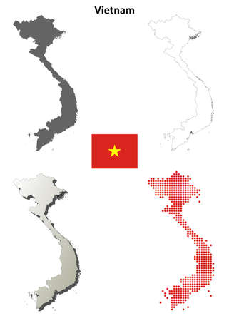 Vietnam blank detailed vector outline map set