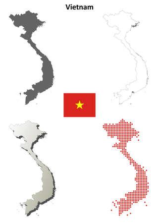 Vietnam blank detailed vector outline map set