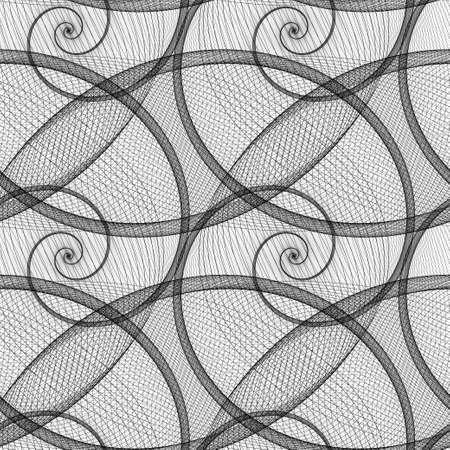 Monochrome wired spiral pattern fractal design background