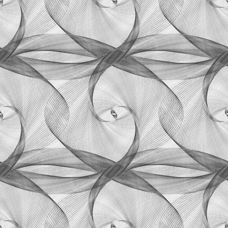Black and white seamless elliptical curved pattern