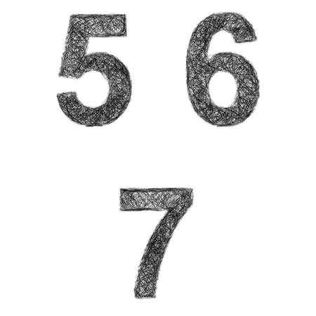 5 6: Line art font design set - numbers 5, 6, 7