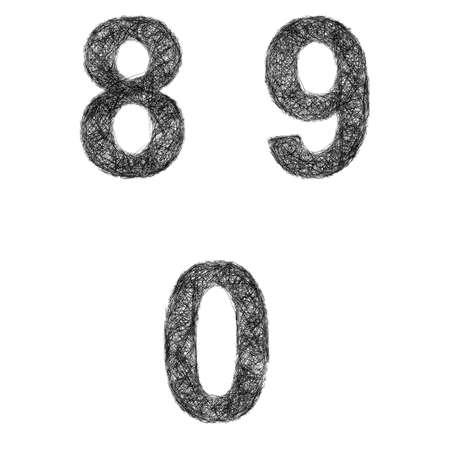 0 9: Line art font design set - numbers 8, 9, 0 Illustration