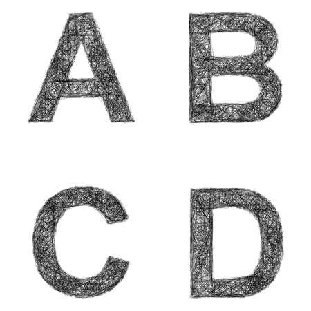 d: Line art font design set - letters A, B, C, D