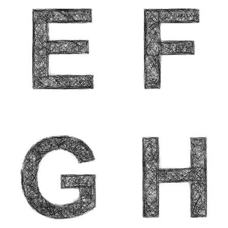 Line art font design set - letters E, F, G, H