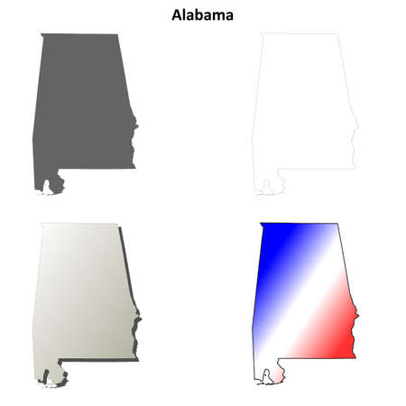alabama state: Alabama state blank vector outline map set Illustration