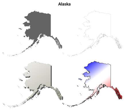 Blank Alaska Map.Alaska State Blank Vector Outline Map Set Royalty Free Cliparts