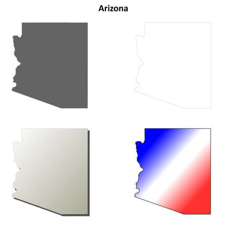 coastline: Arizona state blank vector outline map set