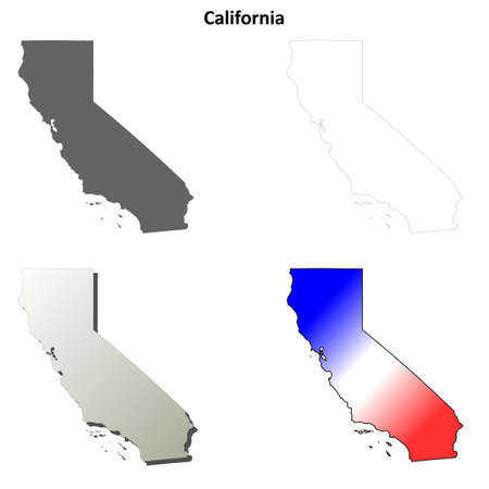 us map: California state blank vector outline map set