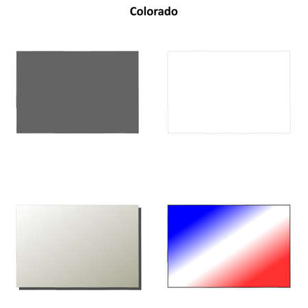 state of colorado: Colorado state blank vector outline map set