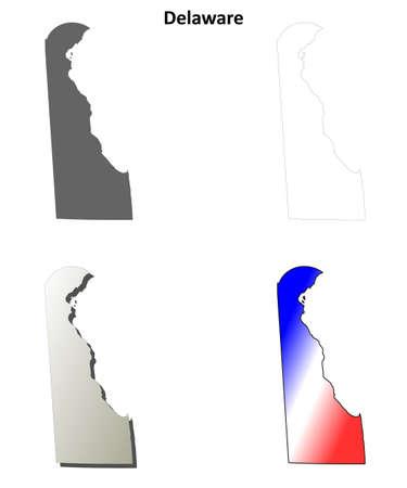 coastline: Delaware state blank vector outline map set