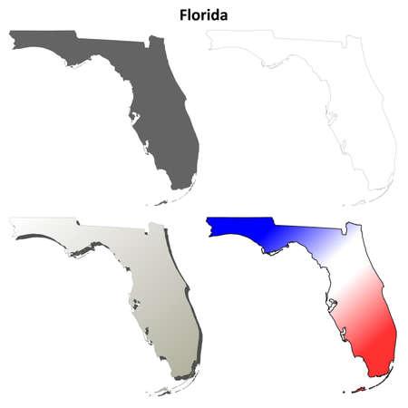 Florida state blank vector outline map set