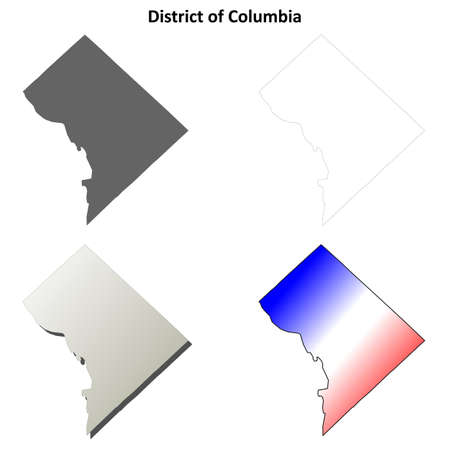 district of columbia: District of Columbia blank outline map set