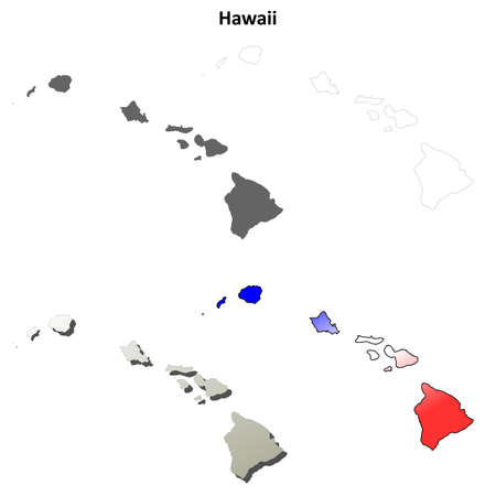 oahu: Hawaii state blank vector outline map set