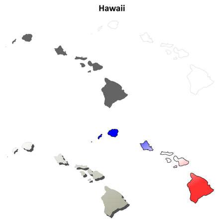 oahu: Hawaii state blank vector outline map set