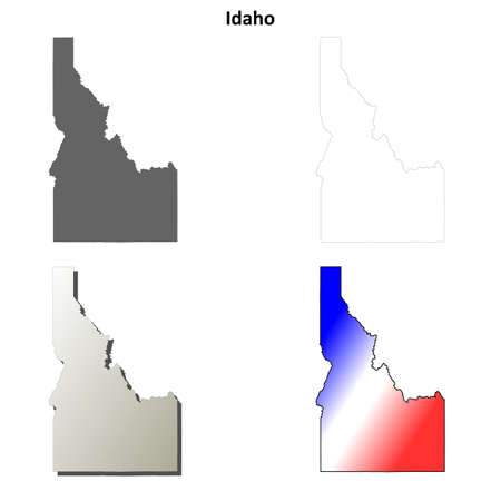idaho state: Idaho state blank vector outline map set Illustration