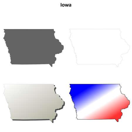 iowa: Iowa state blank vector outline map set