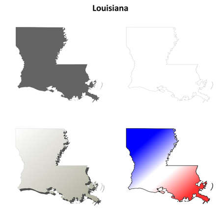 Louisiana state blank vector outline map set