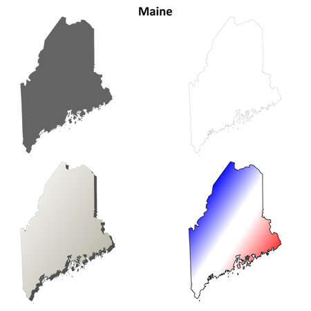 maine: Maine state blank vector outline map set Illustration