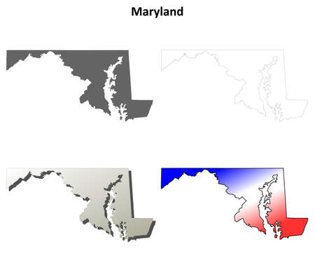 Maryland state blank vector outline map set