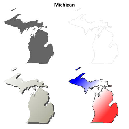 michigan state: Michigan state blank vector outline map set