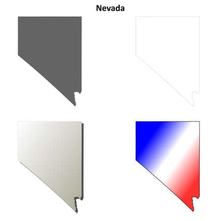 carson city: Nevada state blank vector outline map set Illustration
