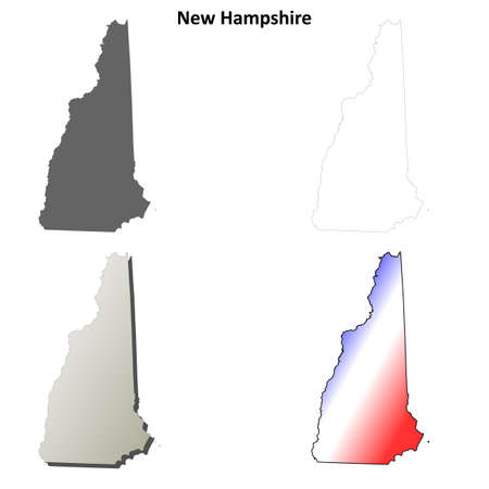 coastlines: New Hampshire state blank vector outline map set