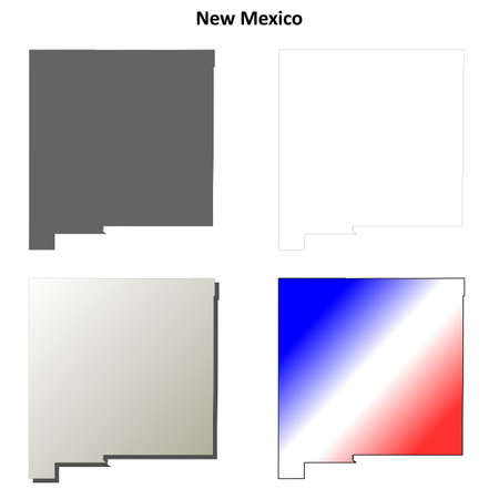 shoreline: New Mexico state blank vector outline map set Illustration