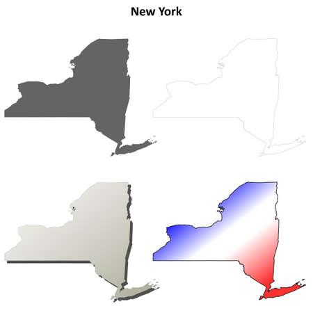 albany: New York state blank vector outline map set Illustration