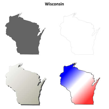 wisconsin state: Wisconsin state blank vector outline map set