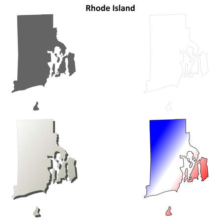 island state: Rhode Island state blank vector blank outline map set