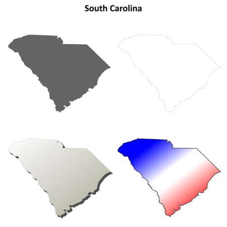 South Carolina state blank vector outline map set