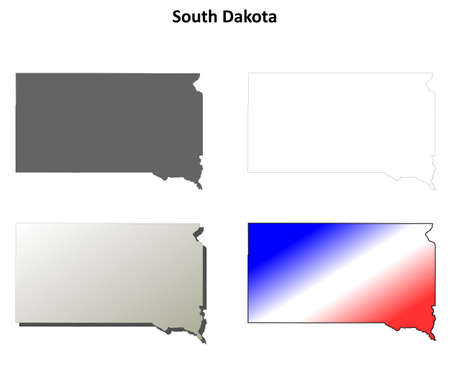 sioux: South Dakota state blank vector outline map set