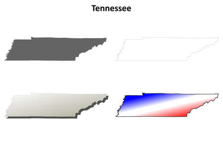 Tennessee state blank vector outline map set 일러스트