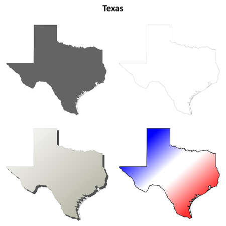 tx: Texas state blank vector outline map set