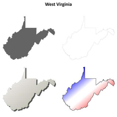 3d virginia: West Virginia state blank vector outline map set Illustration