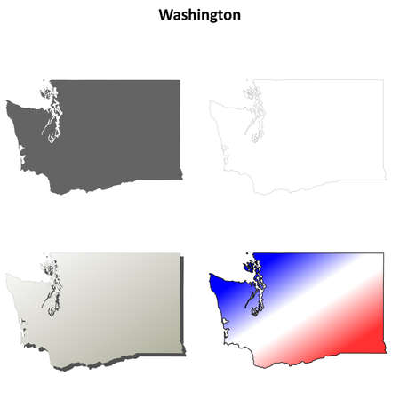 washington state: Washington state blank vector outline map set Illustration