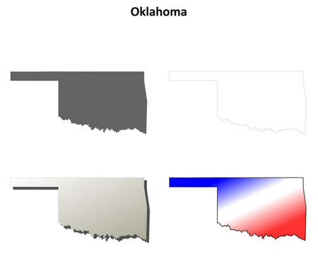 oklahoma: Oklahoma state blank vector outline map set Illustration