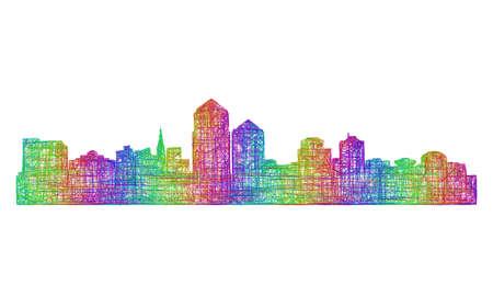 Albuquerque city skyline silhouette - multicolor line art