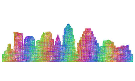 tx: Austin city skyline silhouette - multicolor line art