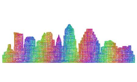 austin: Austin city skyline silhouette - multicolor line art
