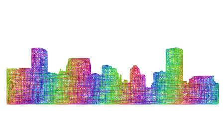 baltimore: Baltimore city skyline silhouette - multicolor line art Illustration
